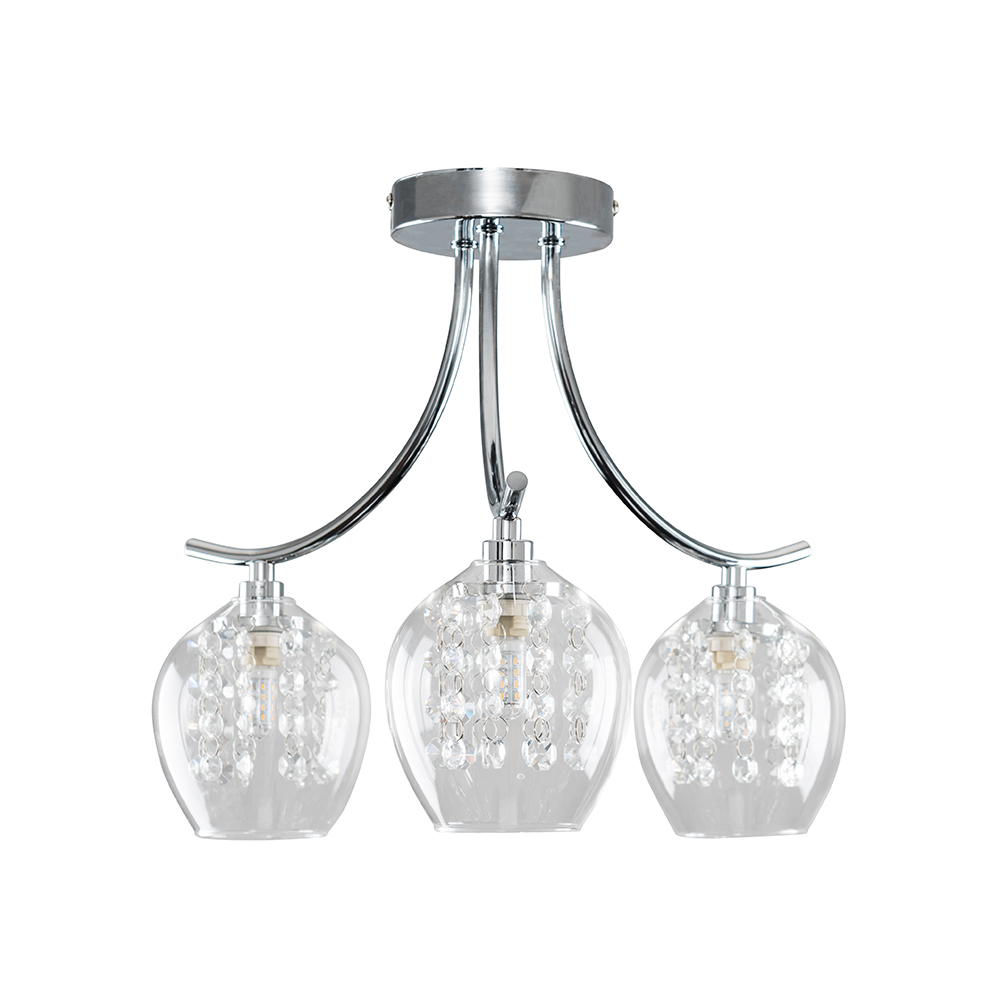 Rocha 5 Way Chrome Chandelier with Grey Shade